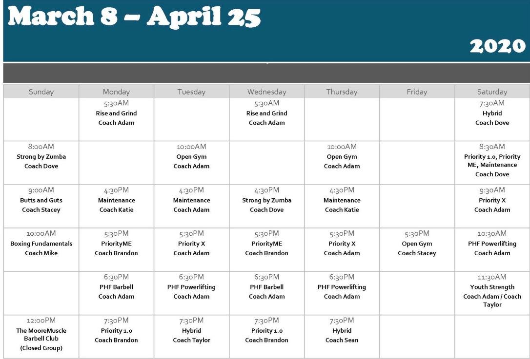 PHF Calendar Mar - April